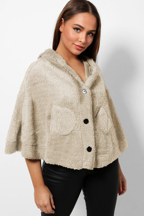Beige Fluffy Teddy Bear Hooded Cape-SinglePrice