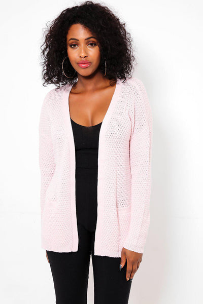 Baby Pink Open Cardie With Rope Belt-SinglePrice