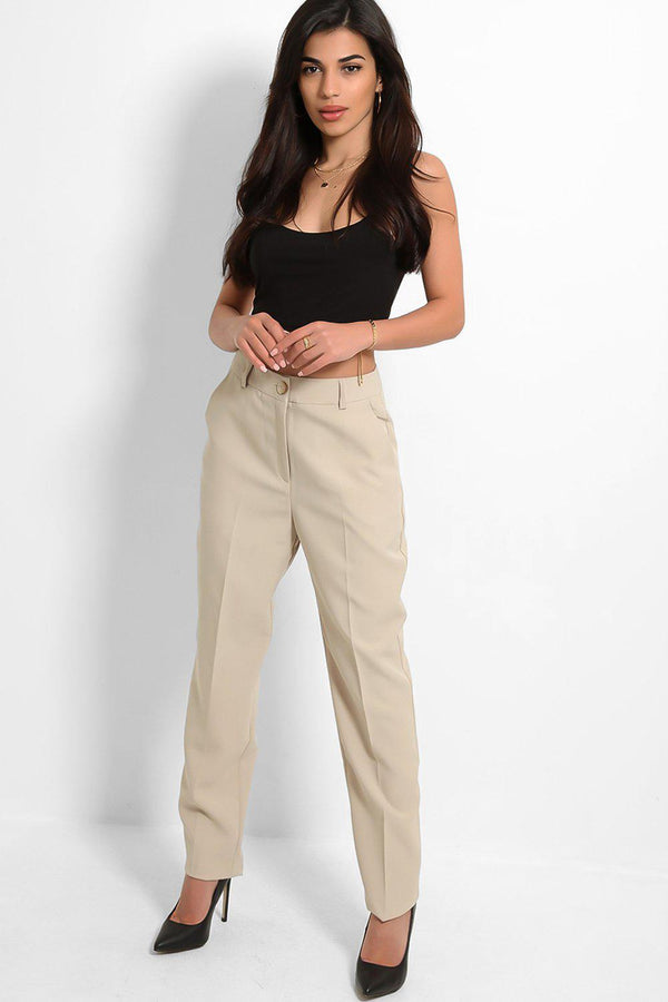 Beige Classic Tailored Cigarette Trousers - SinglePrice