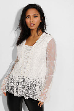 White Pearl Beads Embellished Lace Blouse - SinglePrice