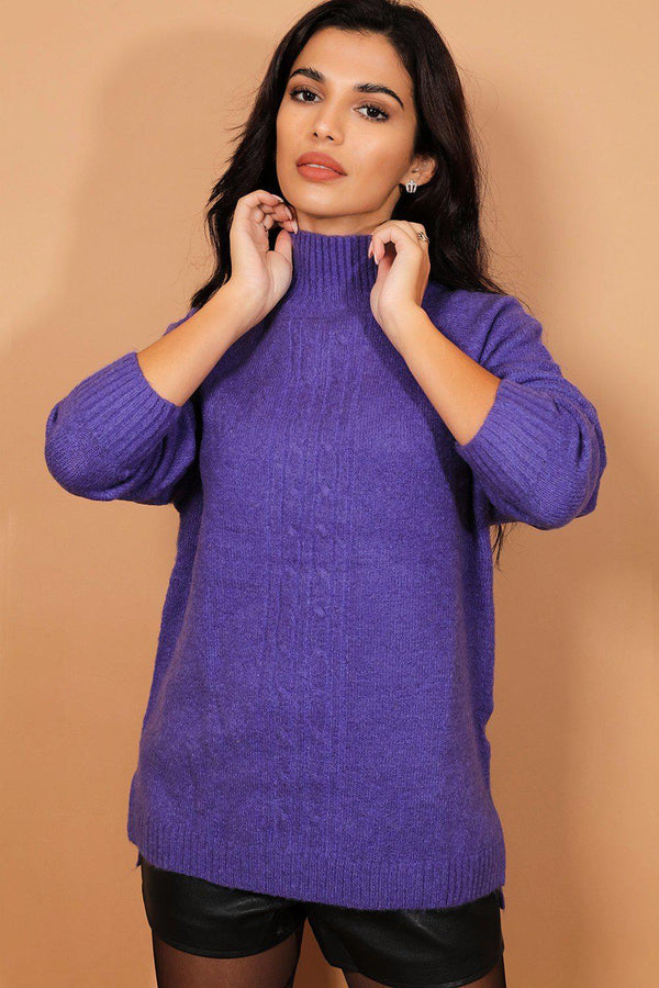 Royal Blue High Neck Soft Braided Knit Pullover - SinglePrice