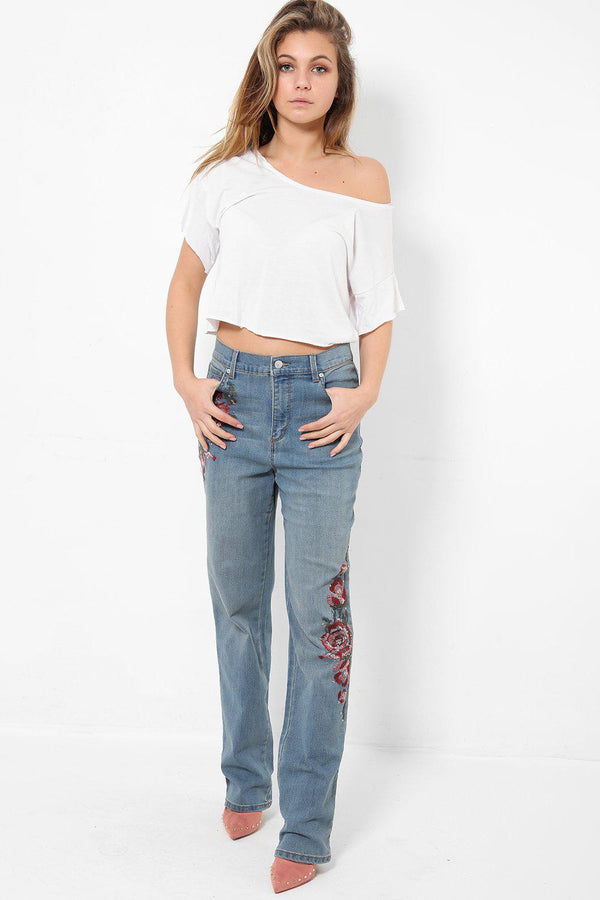 Light Blue Embroidered Bootleg Jeans - SinglePrice