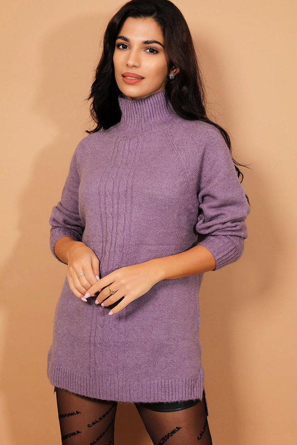 Purple High Neck Soft Braided Knit Pullover-SinglePrice