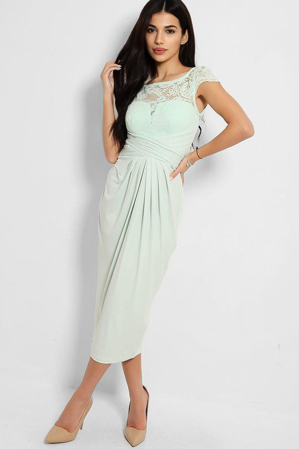 Mint Lace Top Pleated Slinky Midi Dress - SinglePrice