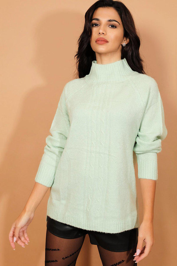 Aqua High Neck Soft Braided Knit Pullover - SinglePrice