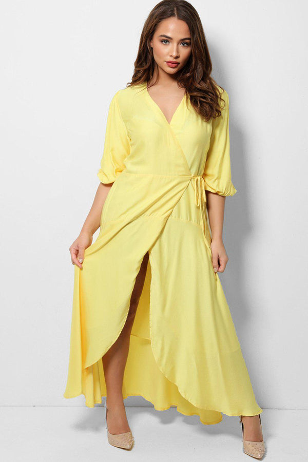 Yellow Satin Touch Maxi Wrap Dress-SinglePrice