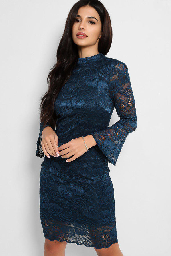 Teal Lace Illusion Open Back Bodycon Dress - SinglePrice