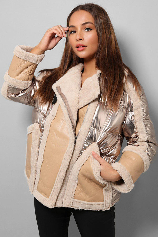 Gold Foil Faux Fur Shearling Aviator Jacket-SinglePrice