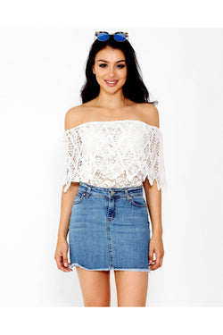 White Lace Bardot Top - SinglePrice