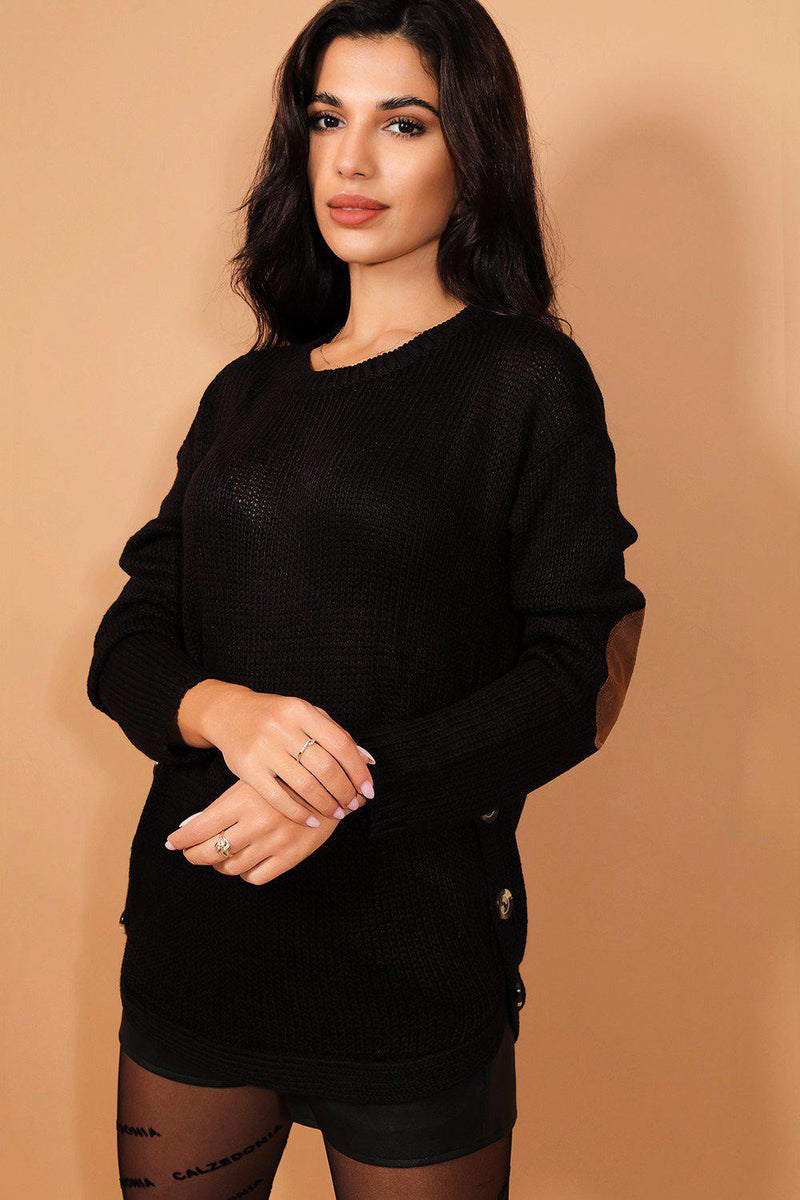 Black Side Button Details Patched Elbow Pullover - SinglePrice
