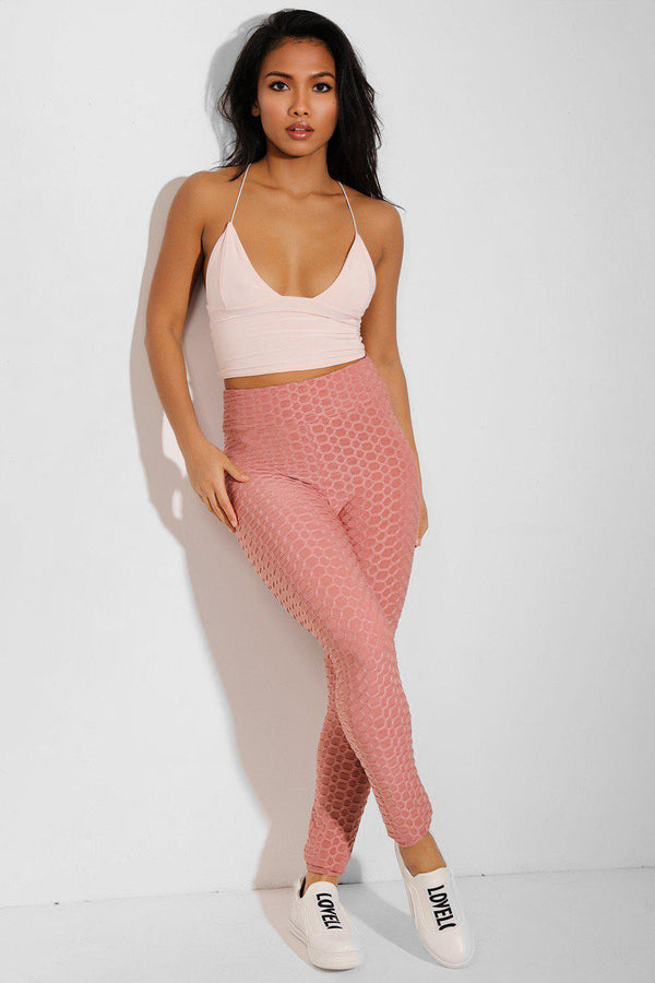 Pink Ruched Texture High Waisted Leggings - SinglePrice