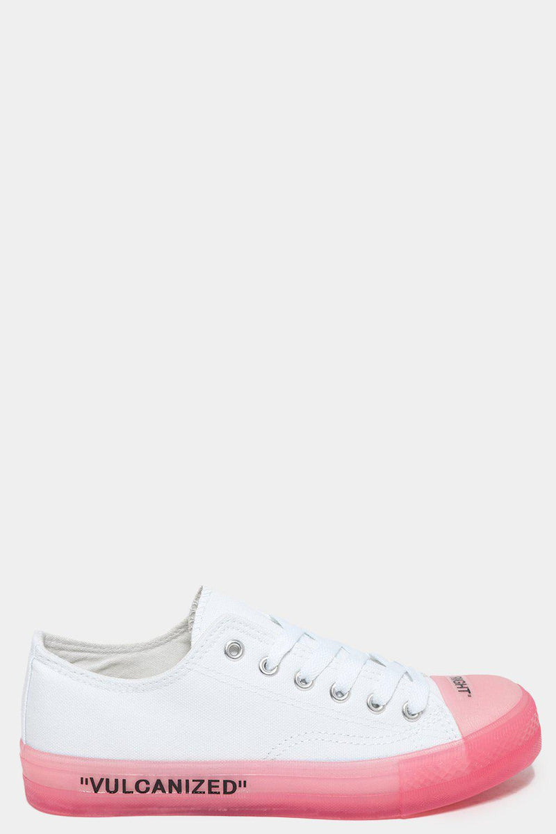 Right Left Slogan Pink Jelly Sole White Canvas Trainers-SinglePrice