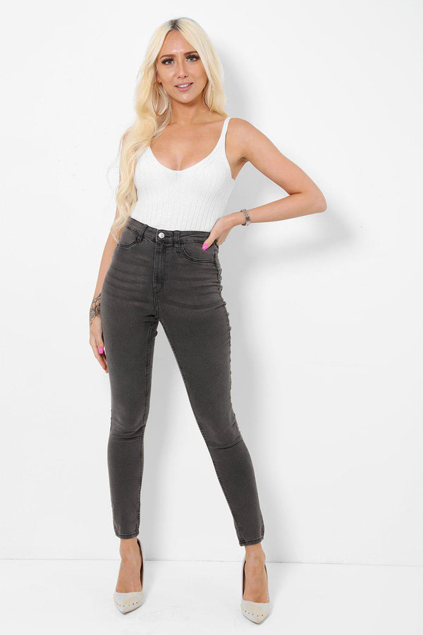 Ash Grey High Waist Super Skinny Jeans-SinglePrice