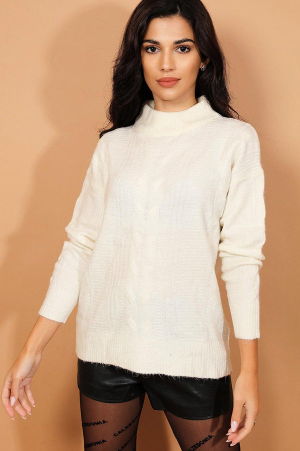 Cream High Neck Soft Knit Pullover-SinglePrice