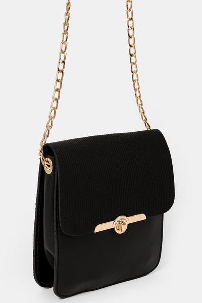 Long Gold Chain Strap Small Black Pocket Bag-SinglePrice