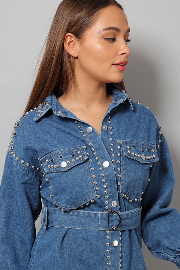 Blue Crystals Embellished Denim Shirt Dress - SinglePrice