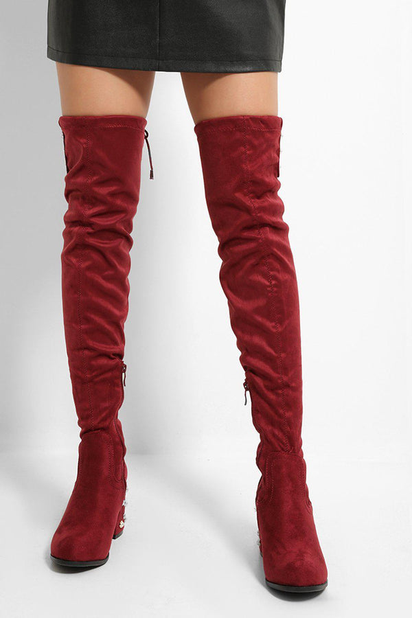 Red Faux Suede Pearls Embellished Over The Knee Boots