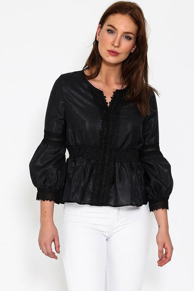 Black Puff Sleeves Romantic Sheer Blouse-SinglePrice
