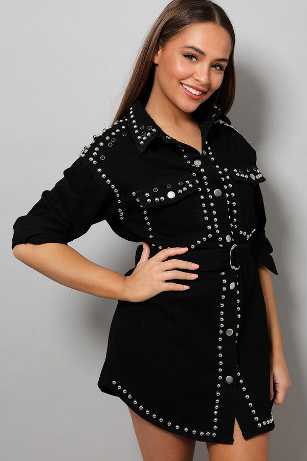 Black Crystals Embellished Denim Shirt Dress - SinglePrice