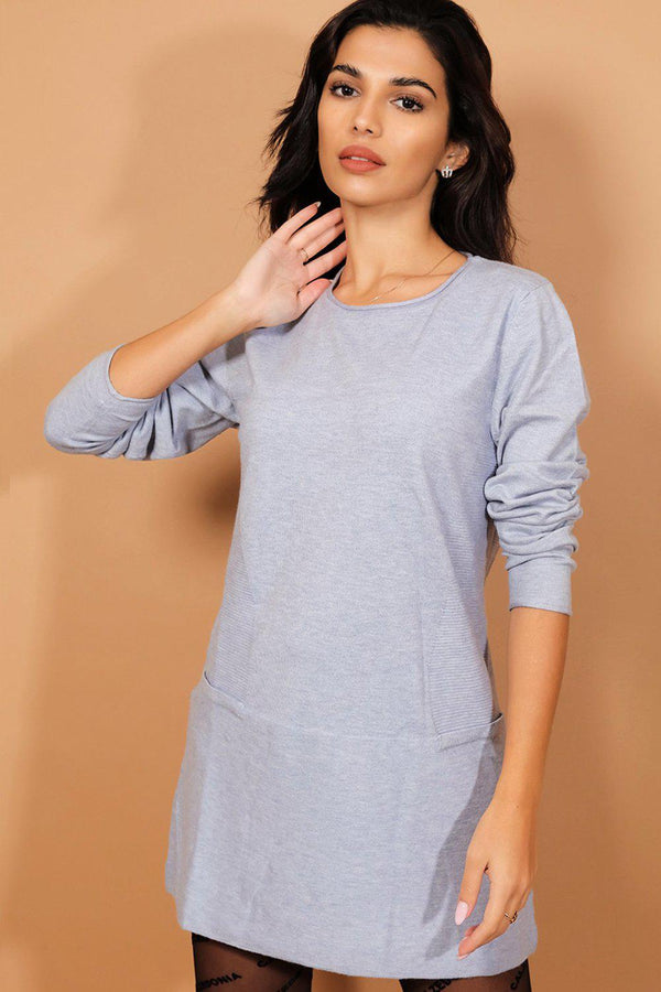 Blue Ribbed Panels Flat Knit Longline Pullover
