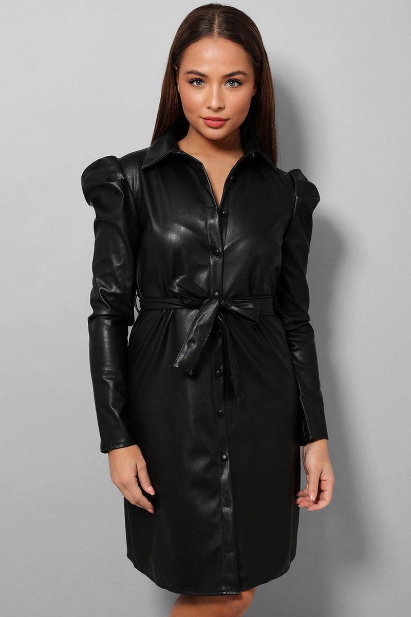 Black Vegan Leather Puff Sleeves Waist Tie Shirt Dress - SinglePrice