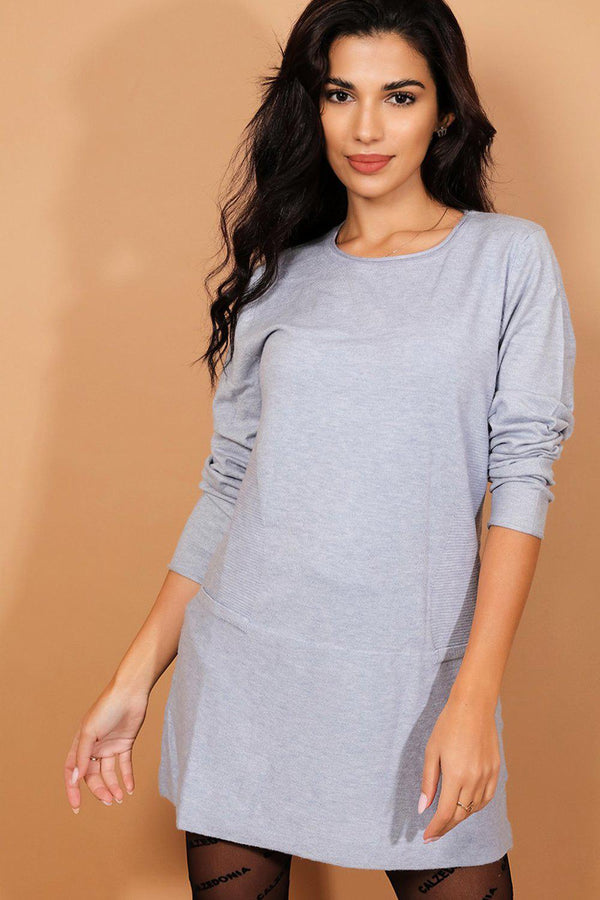 Blue Ribbed Panels Flat Knit Longline Pullover - SinglePrice
