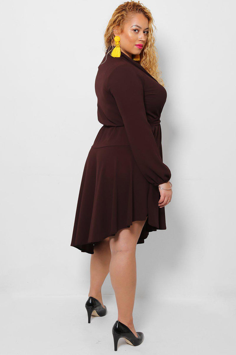 Asymmetric Hem V-Neck Brown Dress-SinglePrice