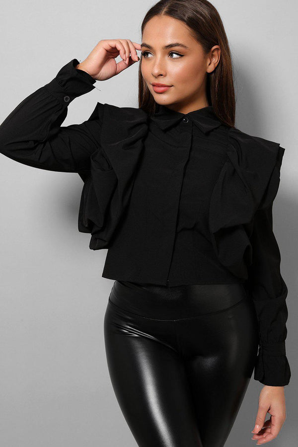 Black Big Frills Shoulders Cropped Shirt-SinglePrice