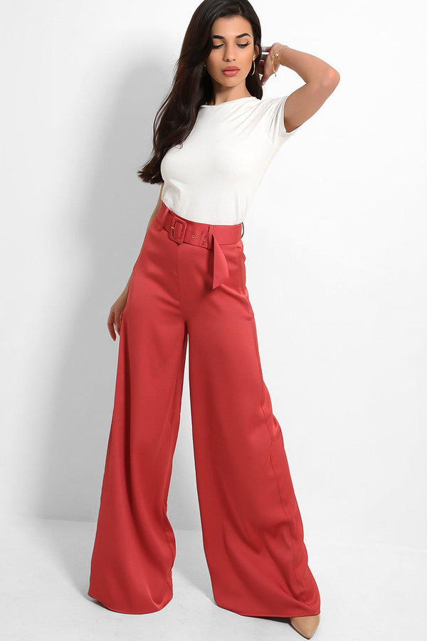 Mauve Satin Finish Belted Wide Leg Trousers - SinglePrice