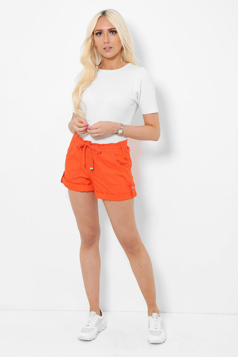 Roll Up Hem Coral Shorts - SinglePrice