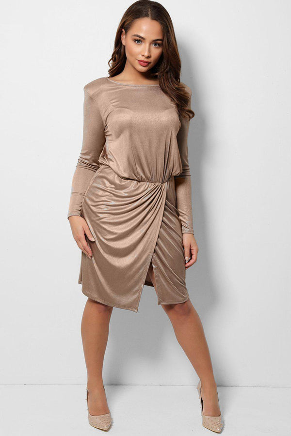 Metallic Golden Beige Padded Shoulders Wrap Front Dress-SinglePrice