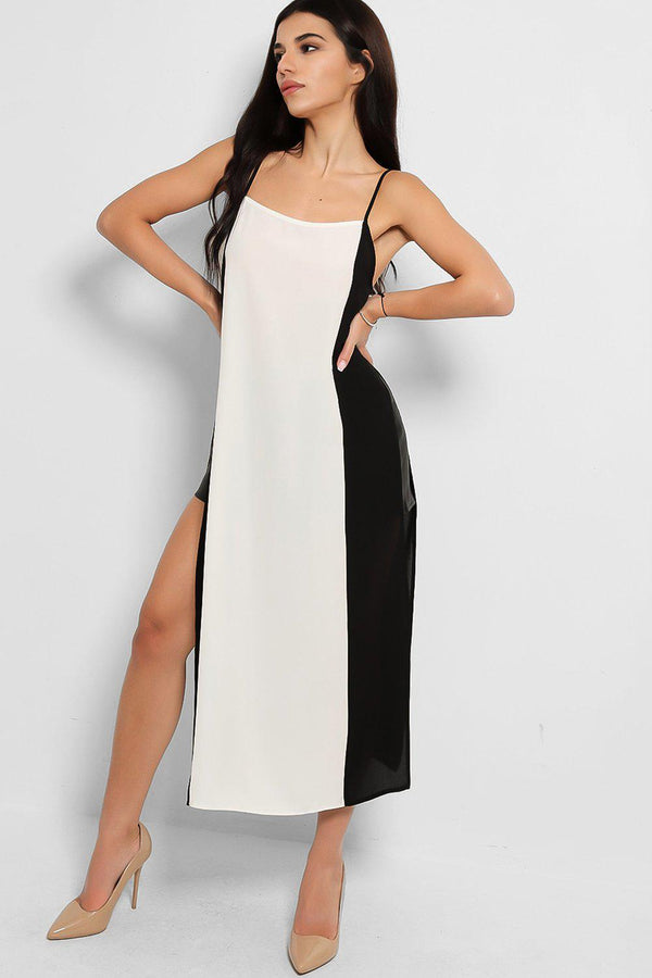 Black White Side Splits Cami Maxi Top - SinglePrice