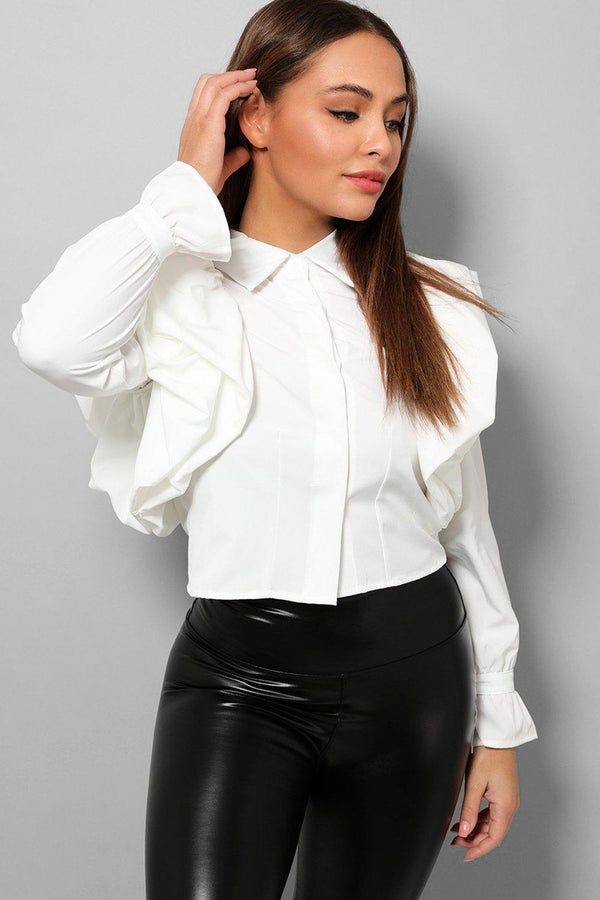 White Big Frills Shoulders Cropped Shirt-SinglePrice