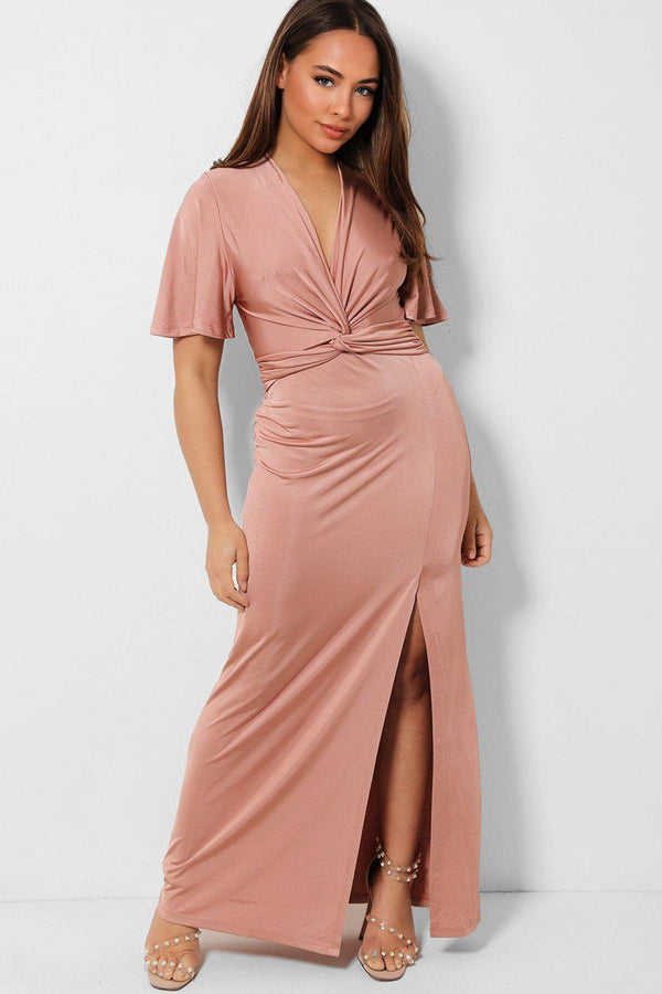 Pink High Split Twist V-Neck Slinky Maxi Dress - SinglePrice