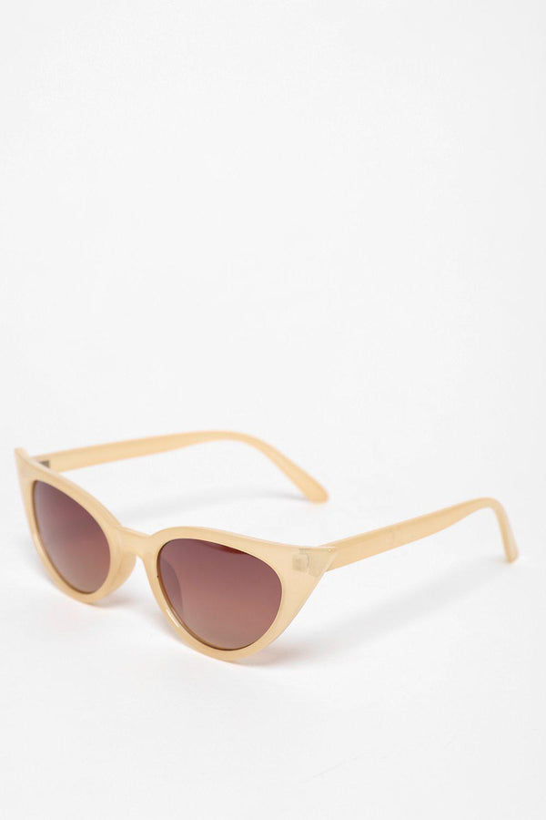Pointy Corners Beige Cats Eye Sunglasses-SinglePrice