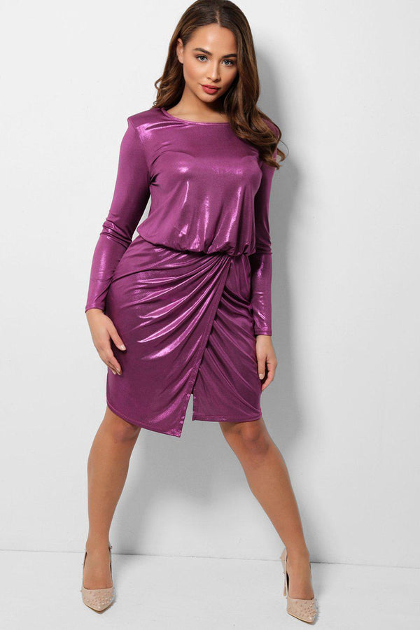 Metallic Purple Padded Shoulders Wrap Front Dress-SinglePrice