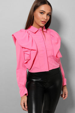 Pink Big Frills Shoulders Cropped Shirt - SinglePrice