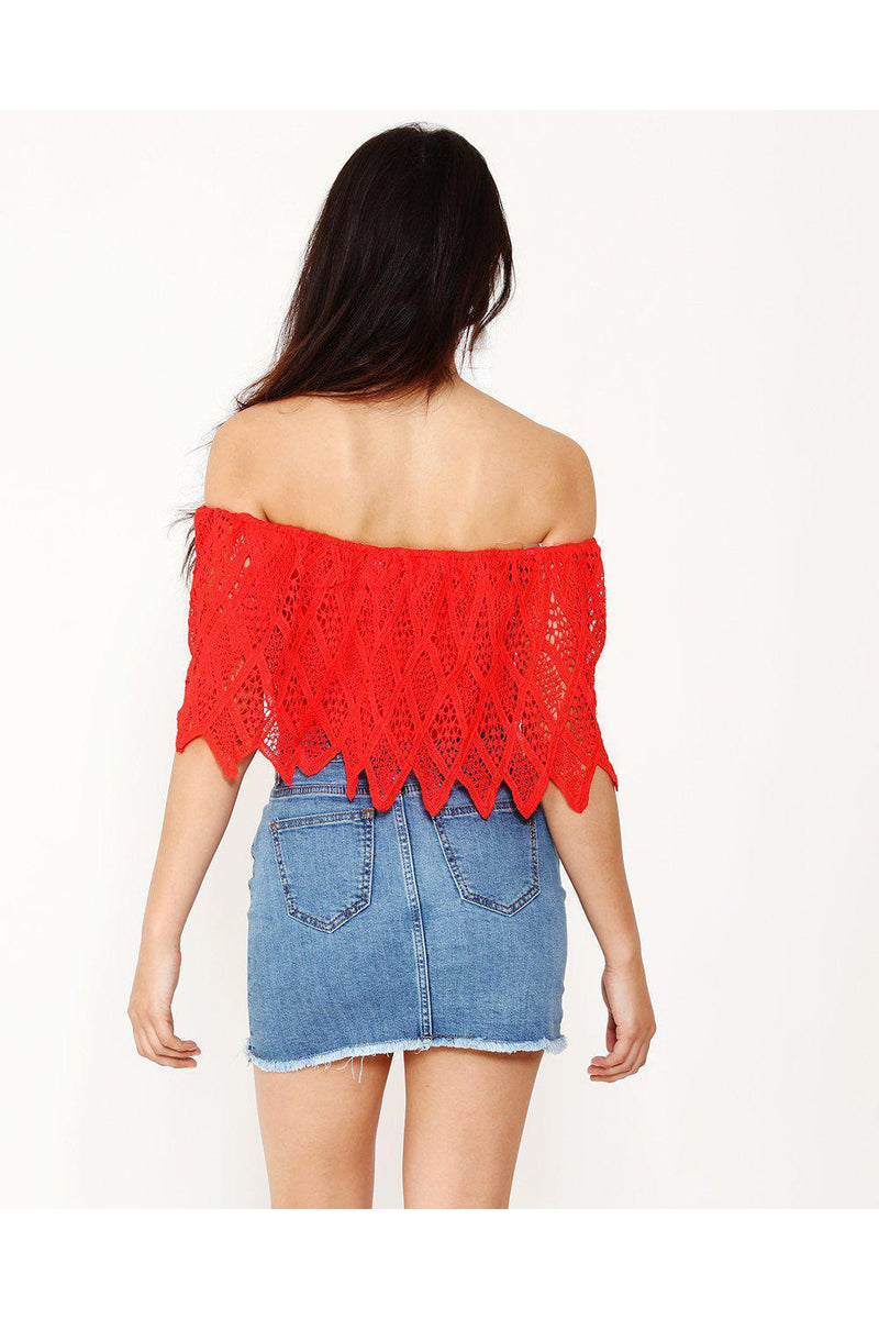 Red Lace Bardot Top - SinglePrice