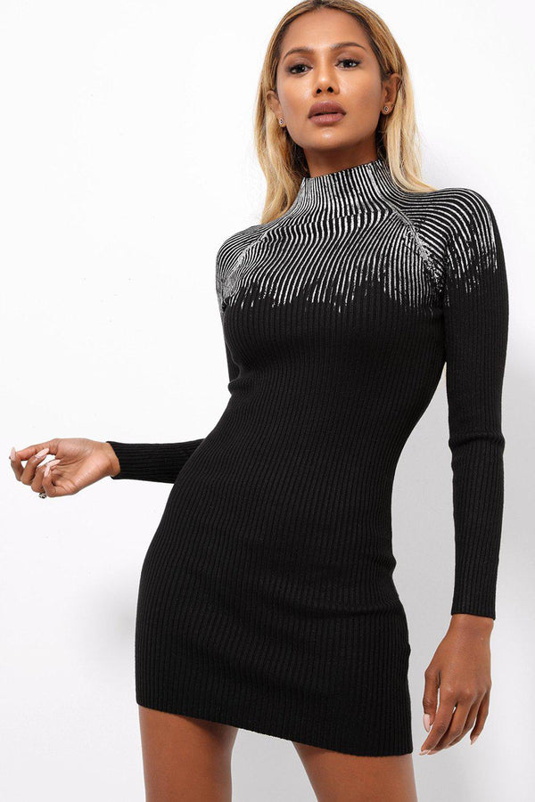 Silver Brushed Ribbed Knit Mini dress-SinglePrice