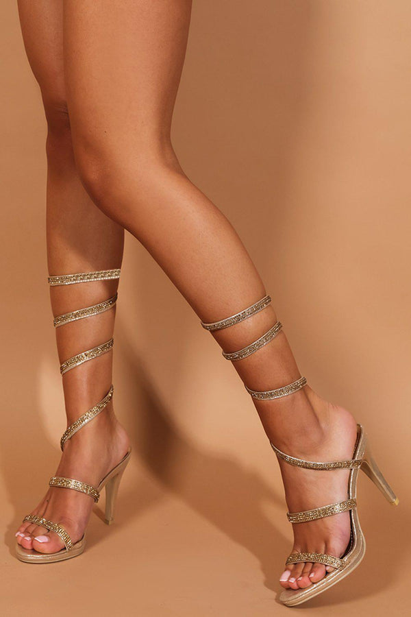 Gold Crystals Embellished Spiral Heeled Sandals - SinglePrice