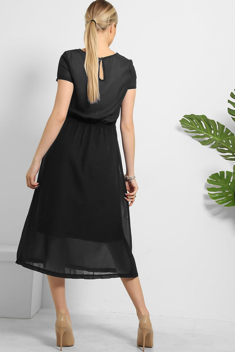 Gold Shimmer Grecian Drape Dress - SinglePrice