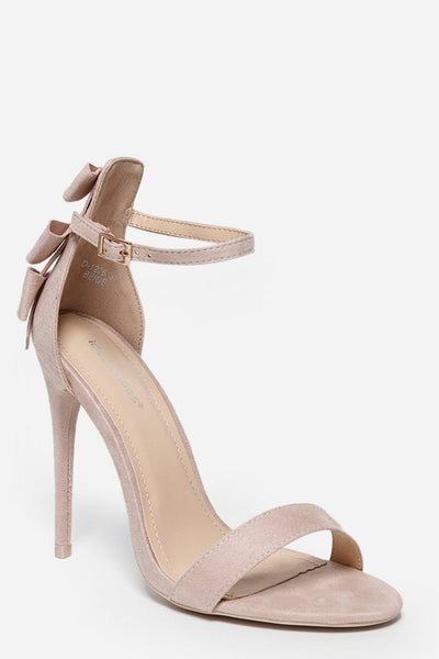Triple Bow Back Beige Barely There Heels-SinglePrice