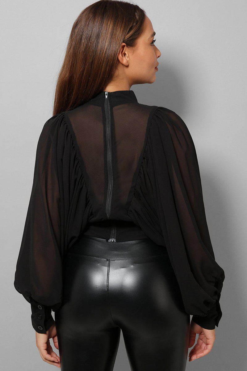 Black High Neck Balloon Sleeve Blouse - SinglePrice