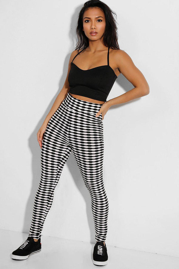 White Black Ruched Stretchy High Waist Leggings - SinglePrice