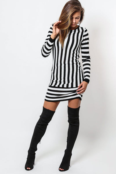 Black And White Stripes Fine Knit Sweater Dress-SinglePrice