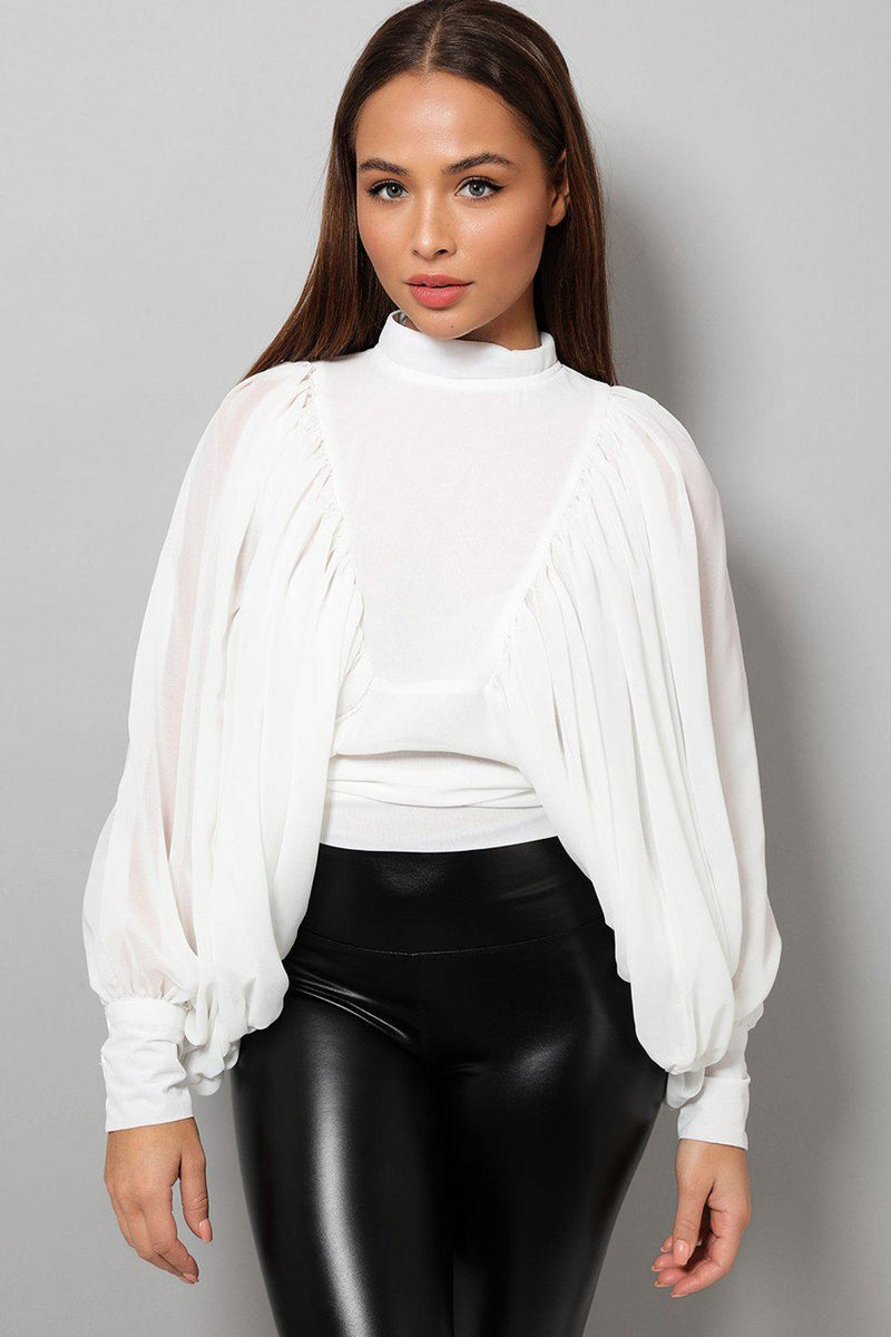 White High Neck Balloon Sleeve Blouse - SinglePrice