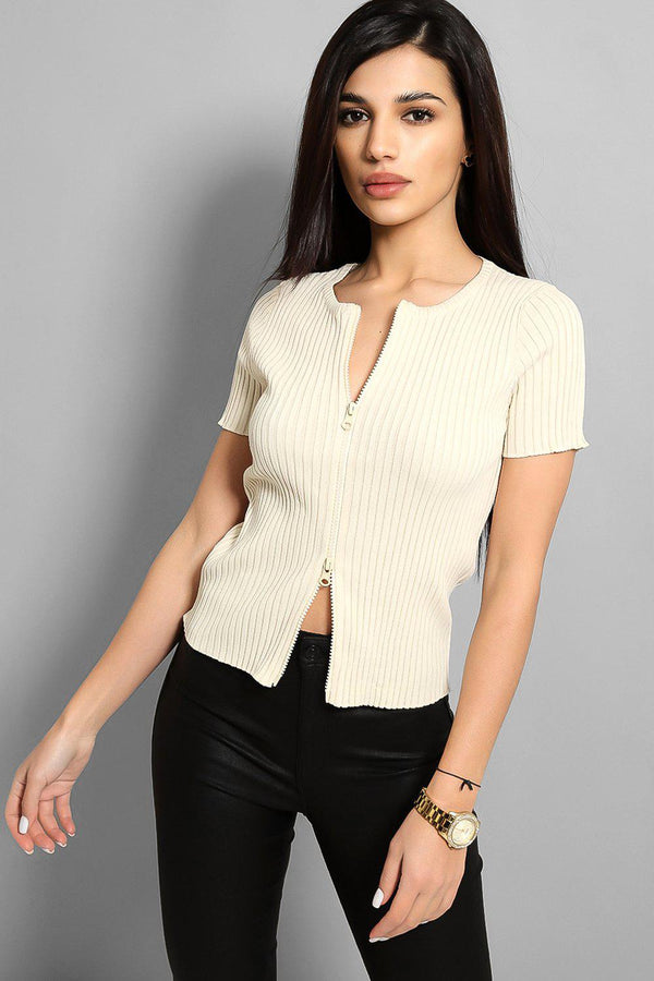 Apricot Both Ways Zip Ribbed Top - SinglePrice