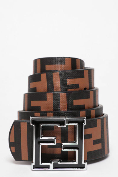 Silver Buckle Brown And Black Reversible Belt-SinglePrice