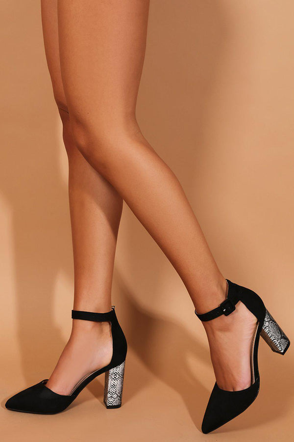 Black Python Print Pointy Block Heel Sandals-SinglePrice
