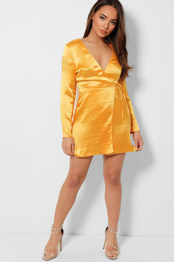 Mustard Satin Mini Wrap Dress - SinglePrice